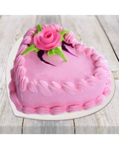 Buy Strawberry Pink Heart Shape Cake Online