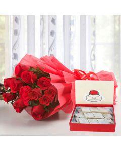 12 Red Rose With Kaju Katli