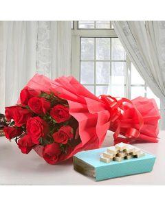 Red Rose Bouquet With Kaju Burfi