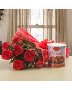 Red Rose With Gulab Jamun