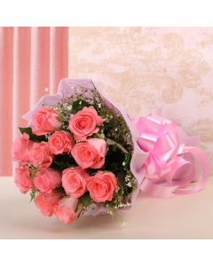 Send 12 Pink Roses Bouquet Online