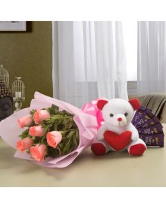 Combo of Flowers, Teddy N Chocolates