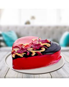 Romantic Choco Strawberry Heart Shape Cake