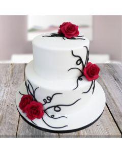 Red Rose Vanilla Cake