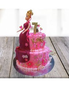 Beautiful Barbie Fondant Cake