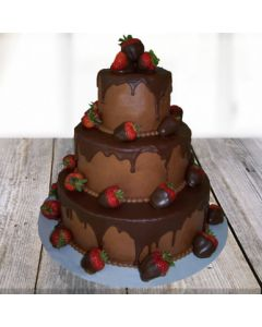3-tier Delicious Choco Strawberry Cake