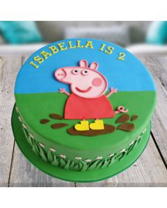 Flavorsome Peppa Pig Fondant Cake for Kids