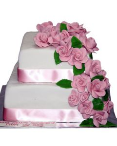 2-tier Floral Fondant Wedding cake