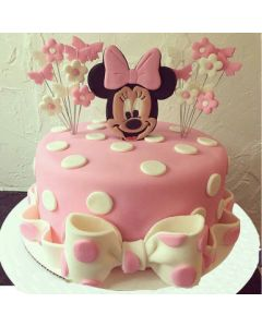 Cute Minnie Mouse Fondant Cake for Kids