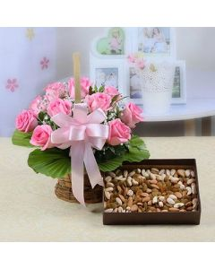 Basket Pink Roses with Assorted Dryfruits