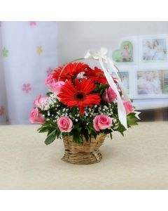 Flower Basket of Red Gerberas & Pink Roses