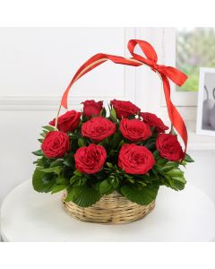 Red Roses Basket (10 Stems)