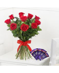 Bunch of Exotic Red Roses with 5 Cadbury Dairy Milk Chocolates