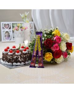Combo of Mix Roses with Munch & Black Forest Cake
