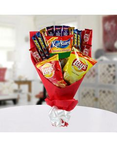 Delicious Bouquet Including Mixed Chocolates & Snacks