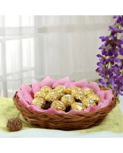 Round Basket Of Ferrero Rocher Chocolates