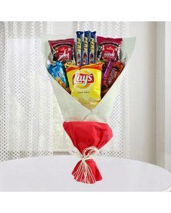 Mouth-Watering Bouquet Including Chocolates, Snacks & Bourbon