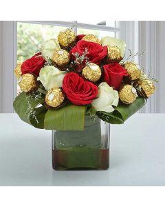 Ferrero Rocher Chocolates With Roses Bouquet
