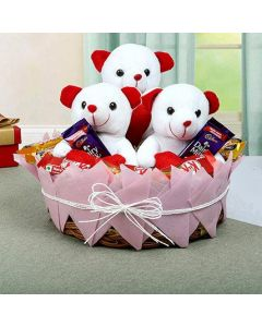 3 Teddy With Chocolate Basket