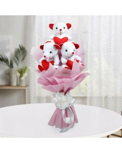 Cutest Teddy With Wrapped Pink Paper