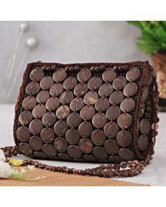 Elegant Coconut shell maroon handbag