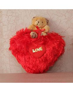 Heart Shaped Pillow With Teddy