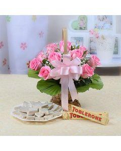 10 Pink Roses with Toblerone & Kaju Katli