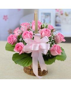 Pink Roses in Wicker Basket