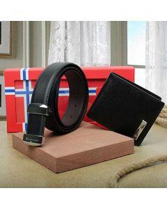 Iconic Combo Of Belt & Wallet Set