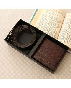 Leather Brown Wallet & Belt Gift Set