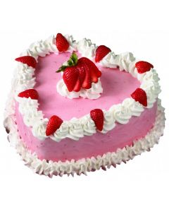 Deliceous Heart Shaped Strawberry Cake