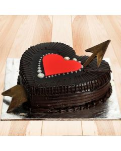 Delicious Heart Shaped Choco Truffle Cake