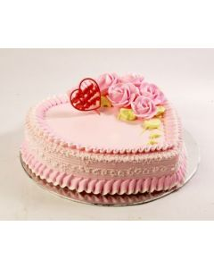 Scrumptious Heart Shaped Strawberry Cake