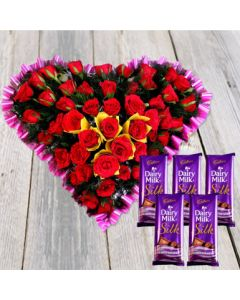 Romantic Heart Shaped Rose Bouquet With Chocolates
