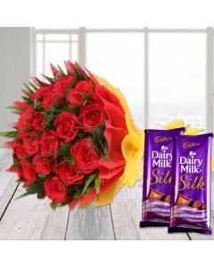 Love Hamper With Roses and Dairy milk Chocolates