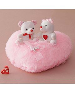 Cute Couple Of Teddies on a pink heart shaped cloud