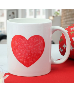 Lovely Heart Print Ceramic Mug