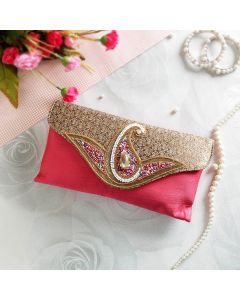 Casual Pink Wallet with zari work