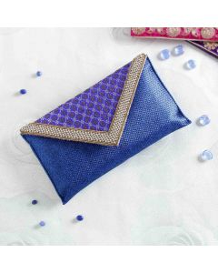 Envelope Style Jute & Silk Clutch purse With Zari Work