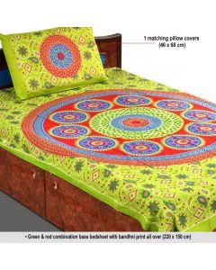 Beautiful Bandhani Print Single Bedsheet