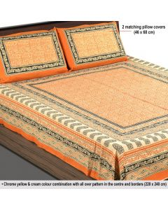 Orange Colored Printed Cotton Bedsheet