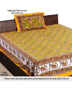 Cotton Block Printed Elephant Design Bedsheet With Elegant Yellow Colour