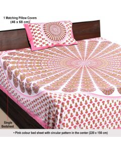 Pink Colour Block Printed Cotton Bedsheet