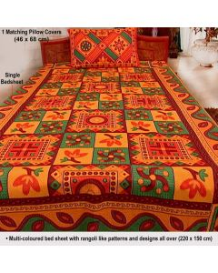Colourful Bedsheet with Colourful Pillow Covers