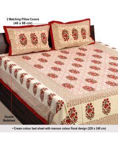 Maroon Colored Block Printed Floral Bedsheet