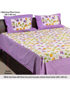 Colourful Floral Print Double Bedsheet