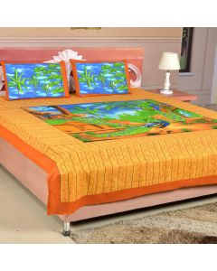 Orange and Yellow Peacock Print Double Bedsheet