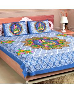 Blue Colour Printed Double Bedsheet
