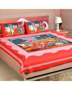 Red Base Printed Double Bedsheet