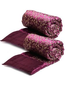 Awesome Purple and Golden Coloured Floral Print Quilt